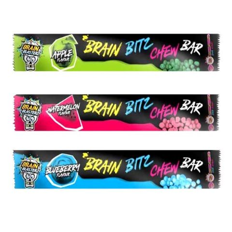 Brain Bitz Chew Bar Sour Brain Blasterz Sweets 20g
